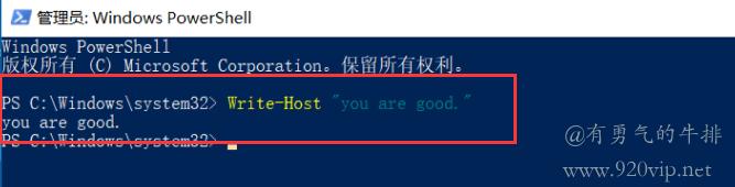 Windows PowerShell在交互式PowerShell窗口运行