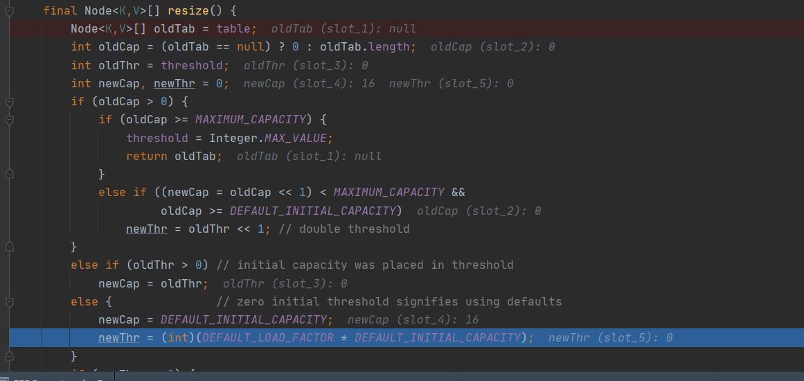 第一次初始化扩容的阈值和数组长度