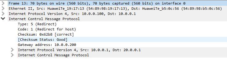 ICMP重定向抓包分析 什么情况下路由器要向源发送ICMP重定向