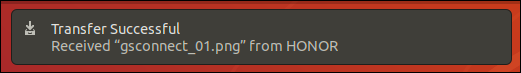 Transfer OK notification