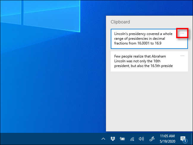 Click the ellipses in Clipboard history on Windows 10