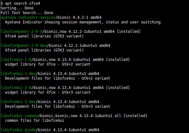 Listing Xfce Applications
