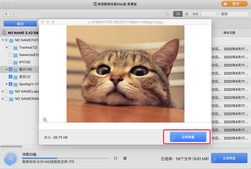 点击立即恢复按钮,恢复Mac上丢失的数据