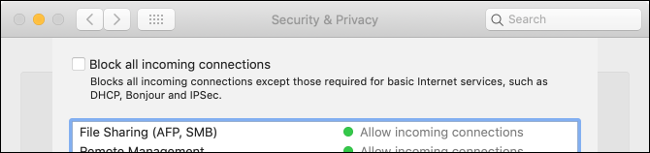 """The """"Block All Incoming Connections"""" checkbox in the """"Security & Privacy"""" pane."""