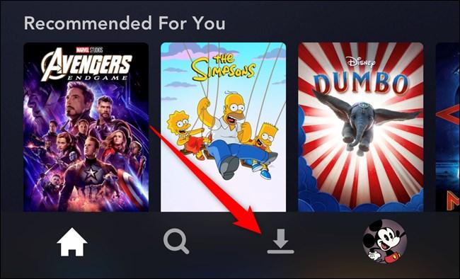 Disney+ App Tap the Downloads Tab