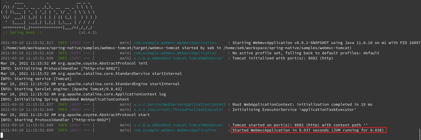 本机 Spring Boot Web 应用程序在 38 毫秒内启动