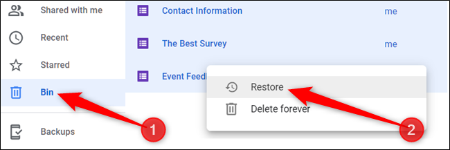 """Alternatively, click """"Bin"""" from the pane on the left, right-click a file, and then click """"Restore"""" to return it to your Drive."""