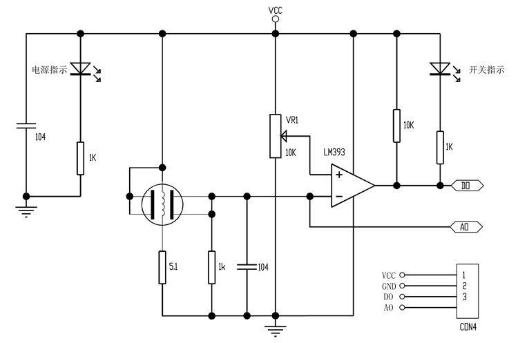 MQ系列气体传感器模块电路图
