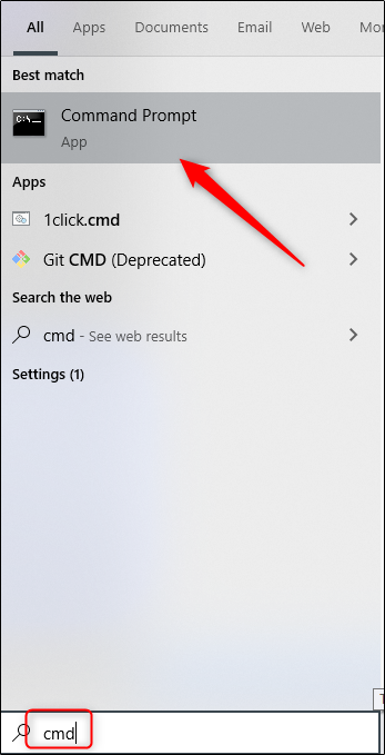 Command prompt app in windows search
