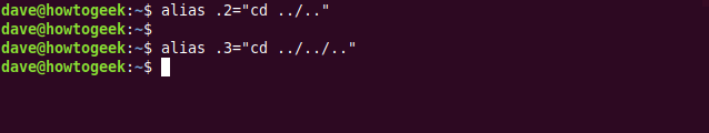 """The alias .2=""""cd ../.."""" and alias .3=""""cd ../../.."""" commands in a terminal window."""