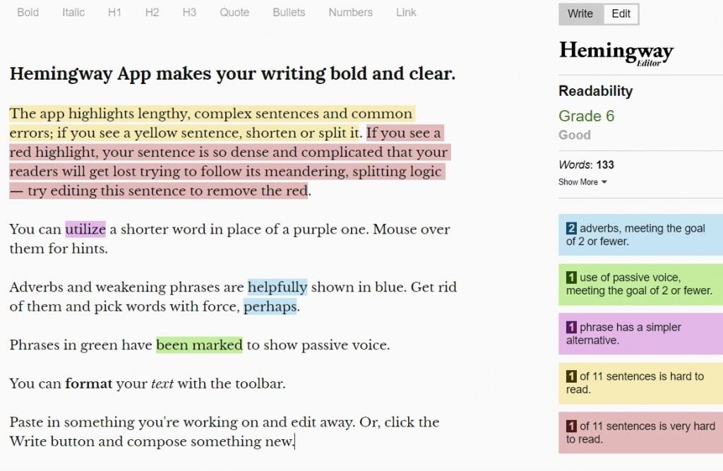 在线语法编辑器 Hemingway